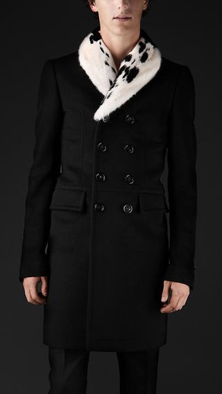 Burberry Prorsum Wool and Cashmere Shawl Collar Tailored Top Coat