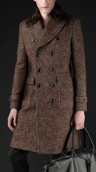 Burberry Prorsum Compact tweed wool tailored coat