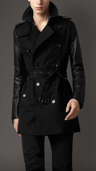 Burberry London Cotton Gabardine Tench Coat with leather sleeves