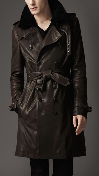 Burberry London Shearling Leather Trench Coat