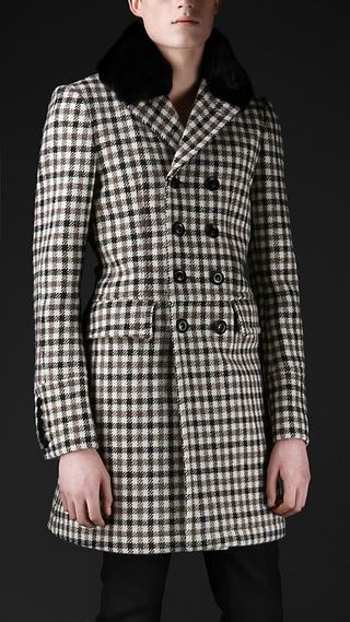 Burberry Prorsum Tailored Tweed Check Top Coat with Finnish Mink fur